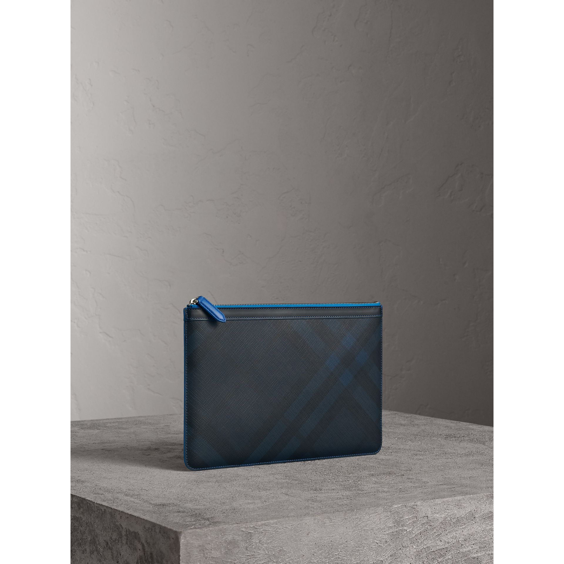 Zip-top London Check Pouch in Navy/blue - Men | Burberry - gallery image 6