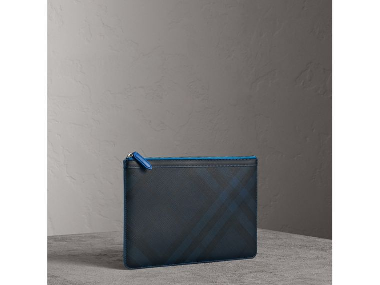 Zip-top London Check Pouch in Navy/blue - Men | Burberry - cell image 4
