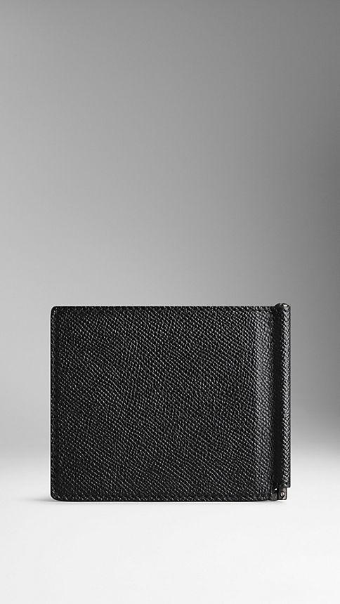 Black London Leather Money Clip Wallet - Image 2