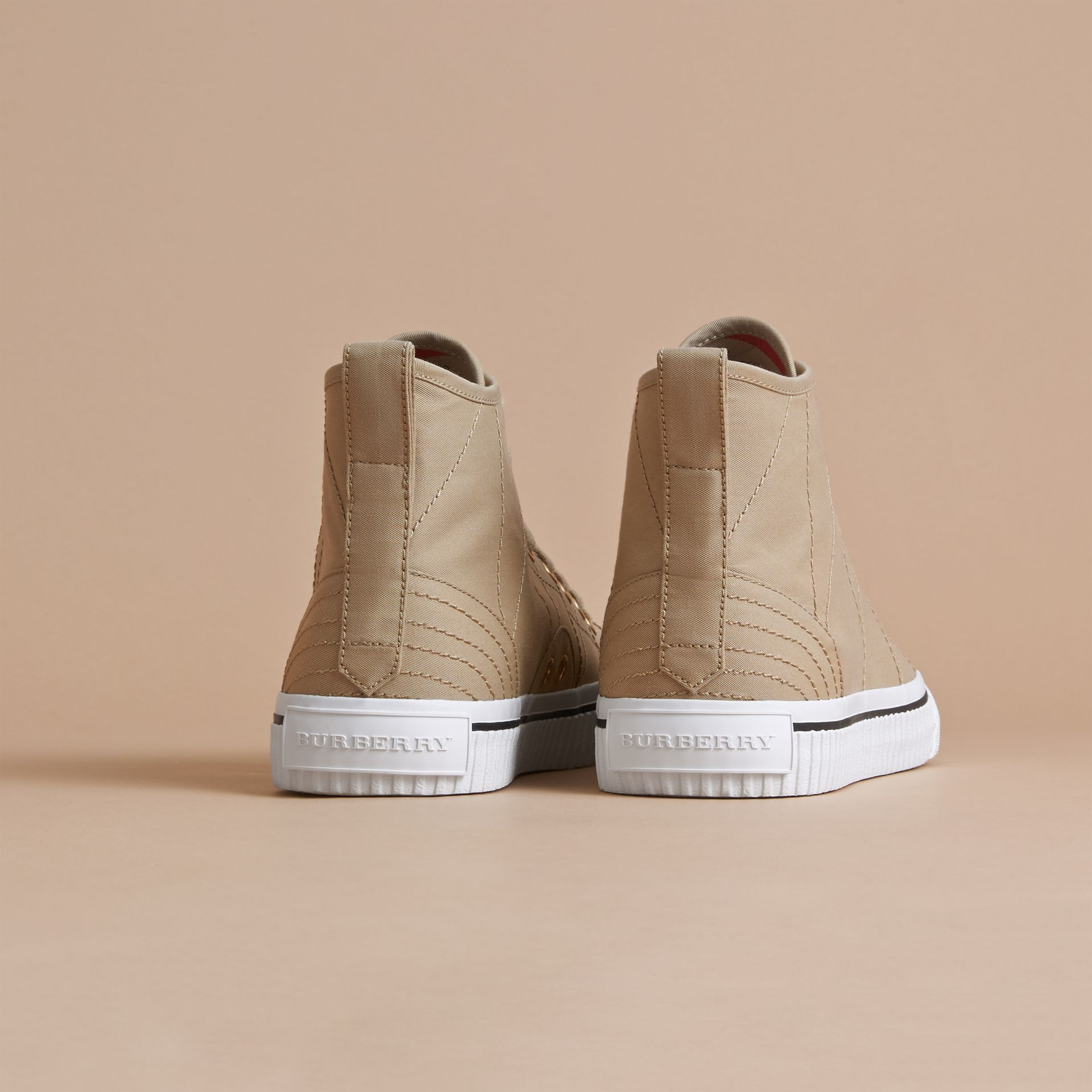 Topstitch Cotton Gabardine High-top Trainers in Honey - Men | Burberry - gallery image 3