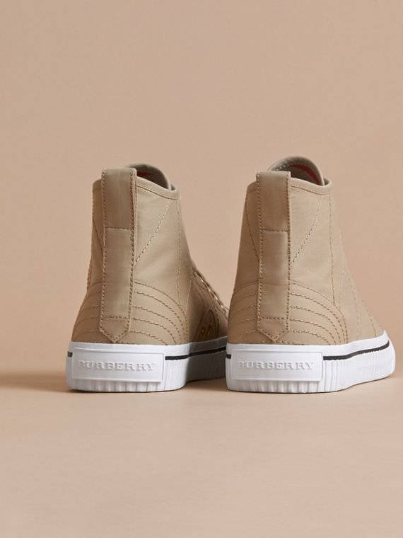 Topstitch Cotton Gabardine High-top Trainers in Honey - Men | Burberry United Kingdom - cell image 2