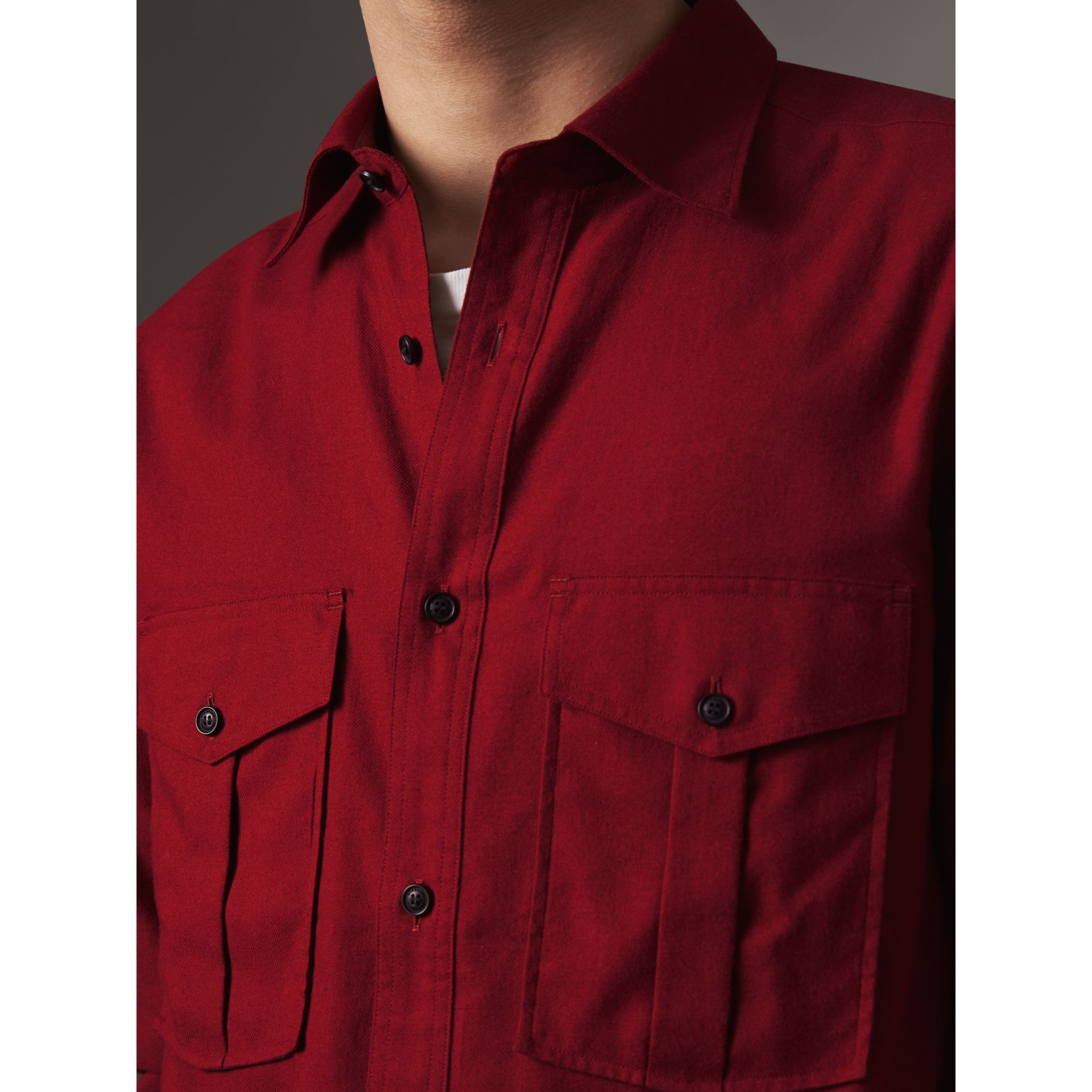 Lightweight Cotton Flannel Shirt in Crimson Red - Men | Burberry - gallery image 2