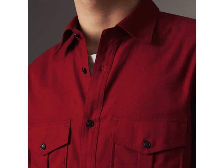Lightweight Cotton Flannel Shirt in Crimson Red - Men | Burberry - cell image 1