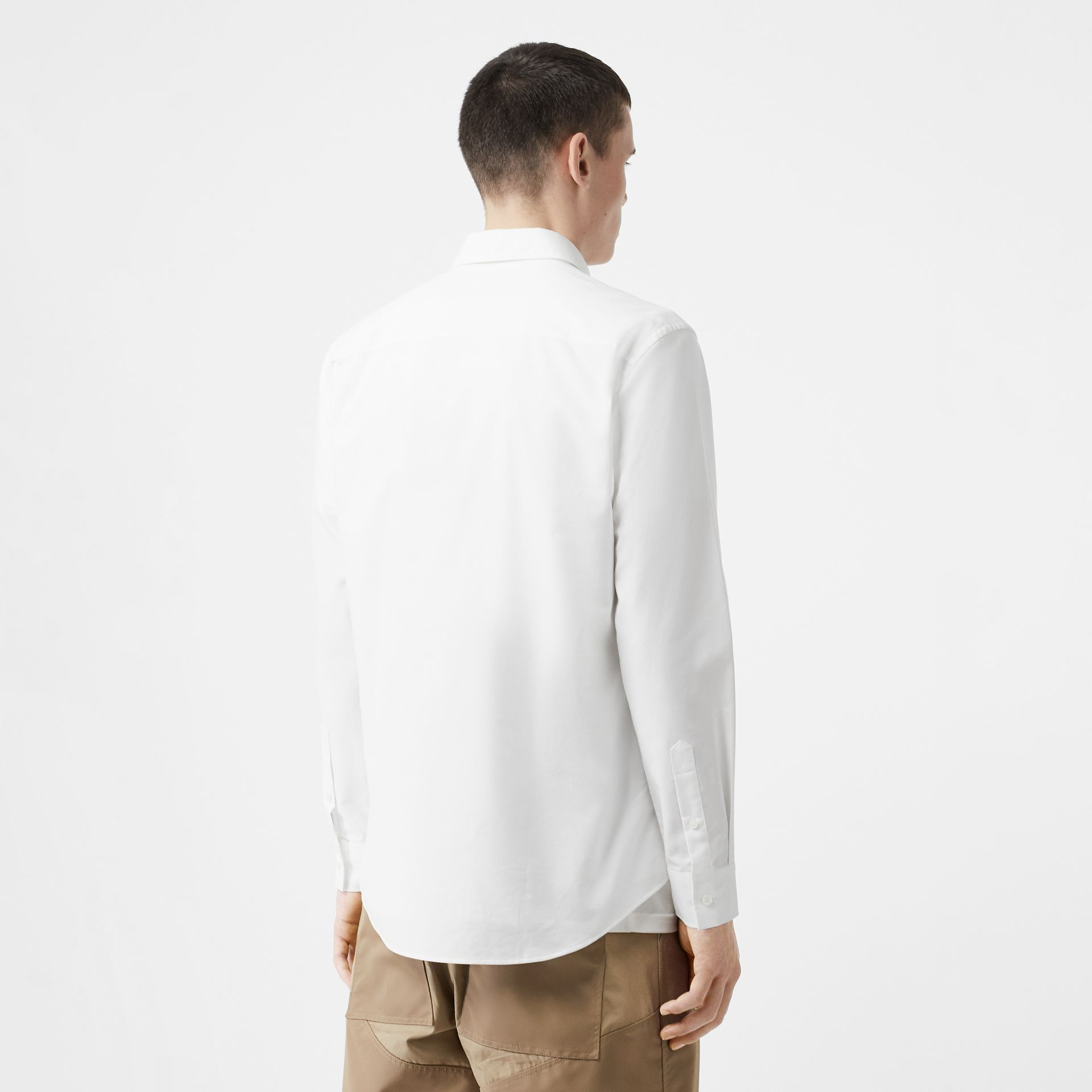 Icon Stripe Detail Stretch Cotton Poplin Shirt in White - Men | Burberry - gallery image 2