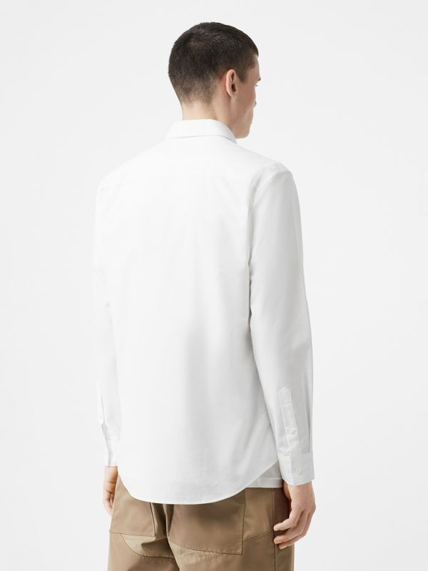 Icon Stripe Detail Stretch Cotton Poplin Shirt in White - Men | Burberry United Kingdom - cell image 2