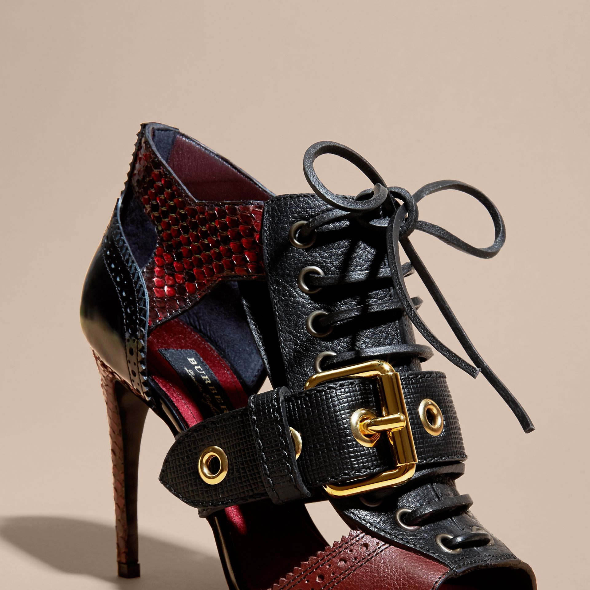 Buckle Detail Leather and Snakeskin Cut-out Ankle Boots Bordeaux - gallery image 2