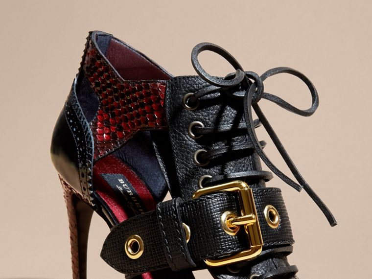 Buckle Detail Leather and Snakeskin Cut-out Ankle Boots Bordeaux - cell image 1