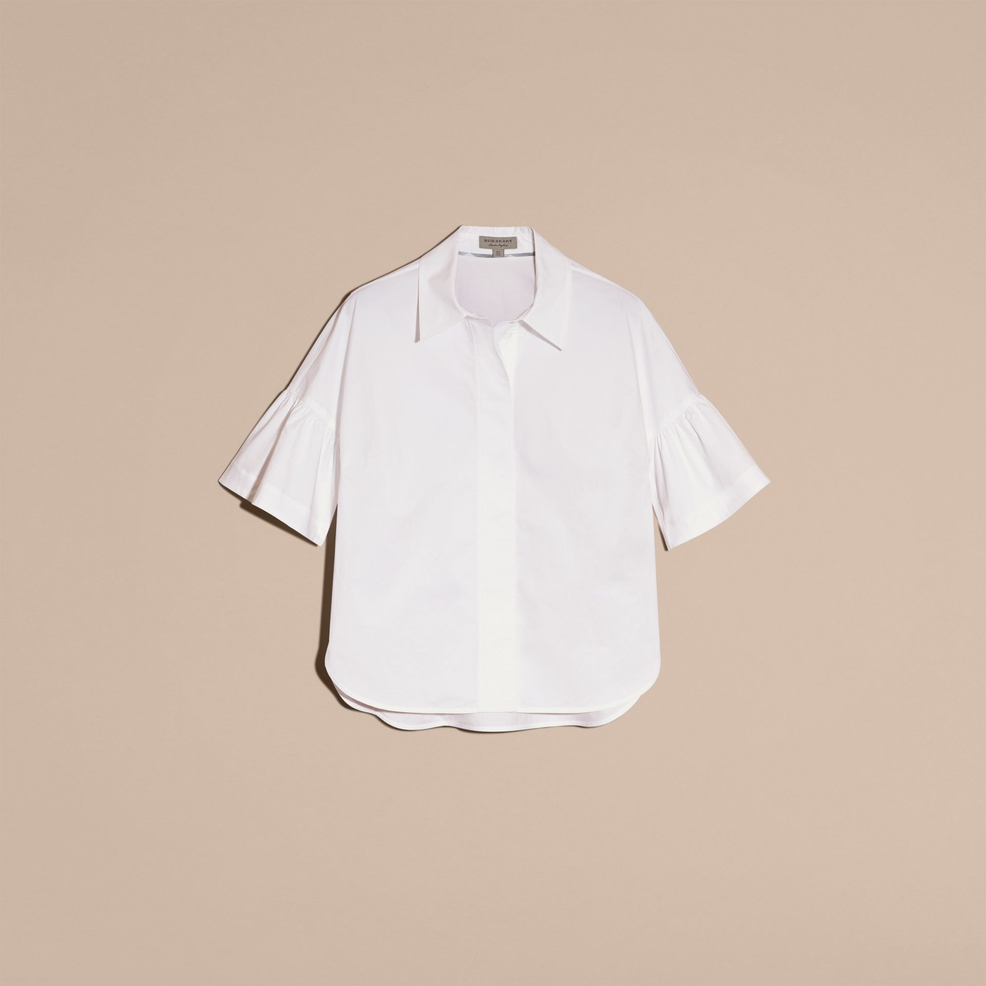 White Stretch Cotton Shirt with Ruched Sleeves White - gallery image 4
