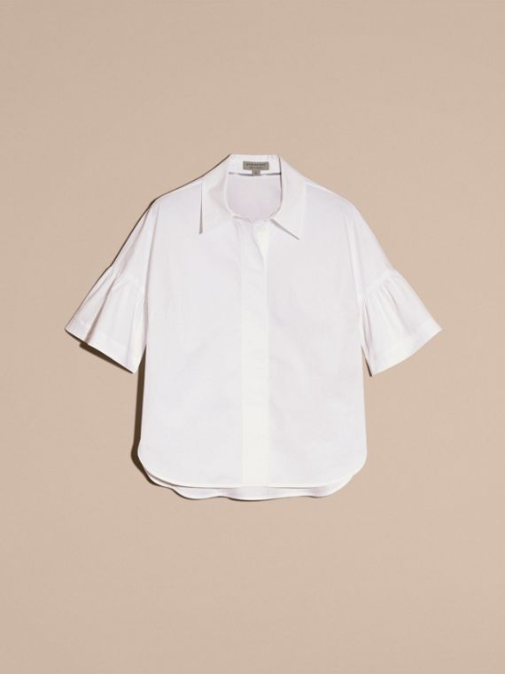 Stretch Cotton Shirt with Ruched Sleeves in White - cell image 3