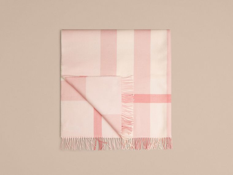 Check Cashmere Baby Blanket in Powder Pink - Children | Burberry Australia - cell image 4