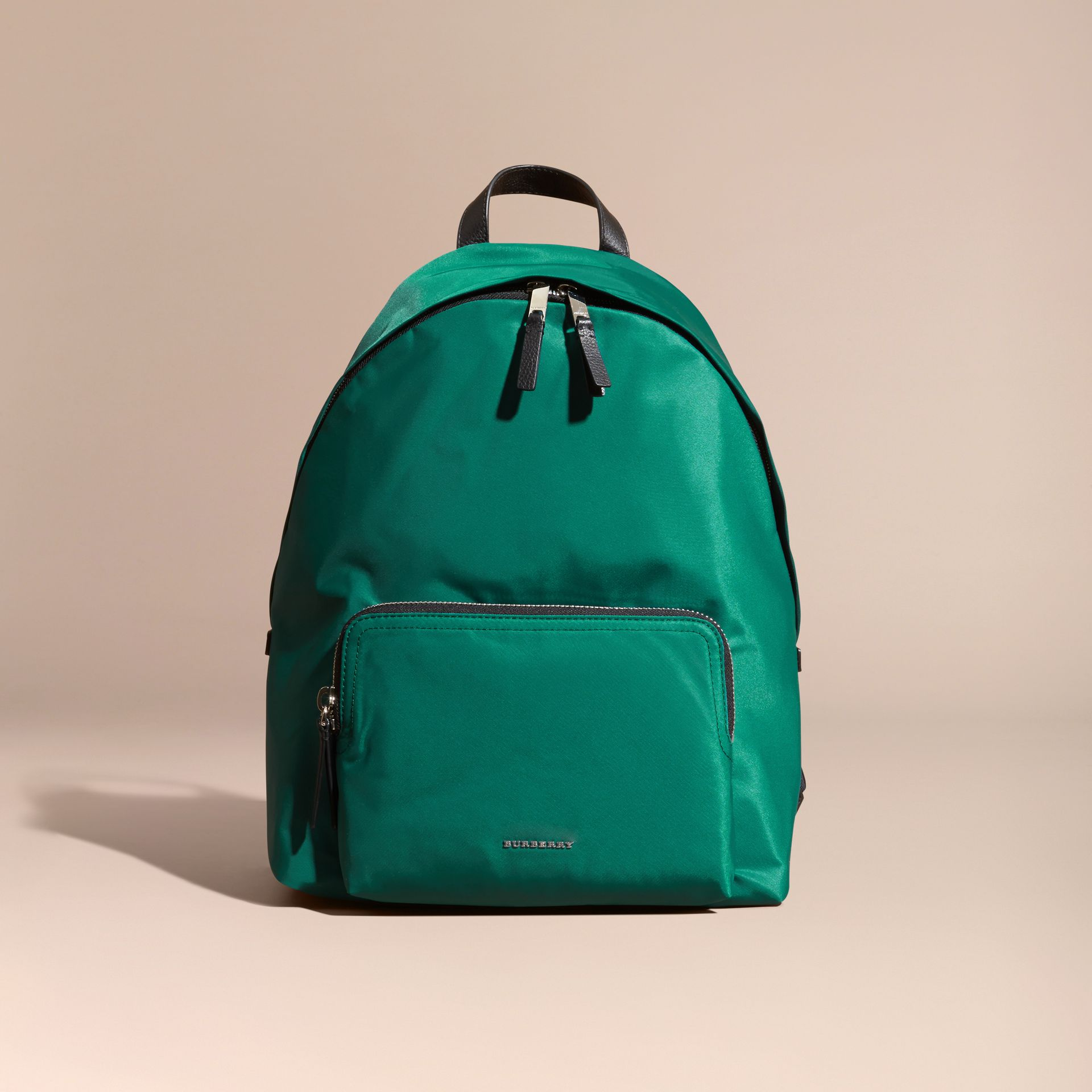 Pine green Leather Trim Nylon Backpack Pine Green - gallery image 8
