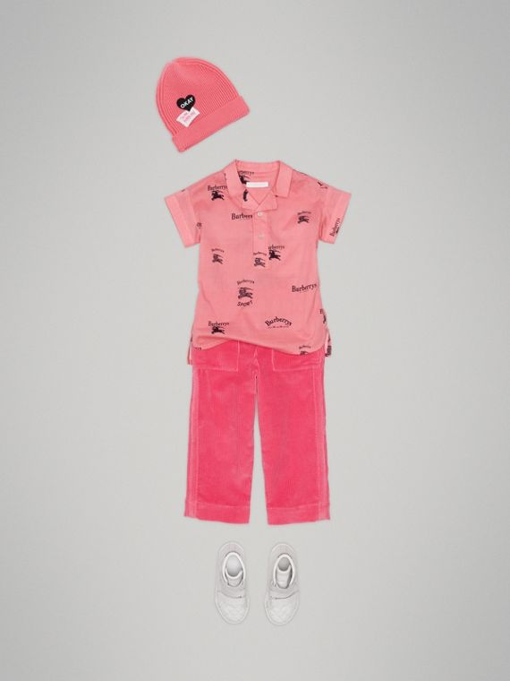 Short-sleeve Archive Logo Print Cotton Shirt in Rose Pink - Girl | Burberry Australia - cell image 2