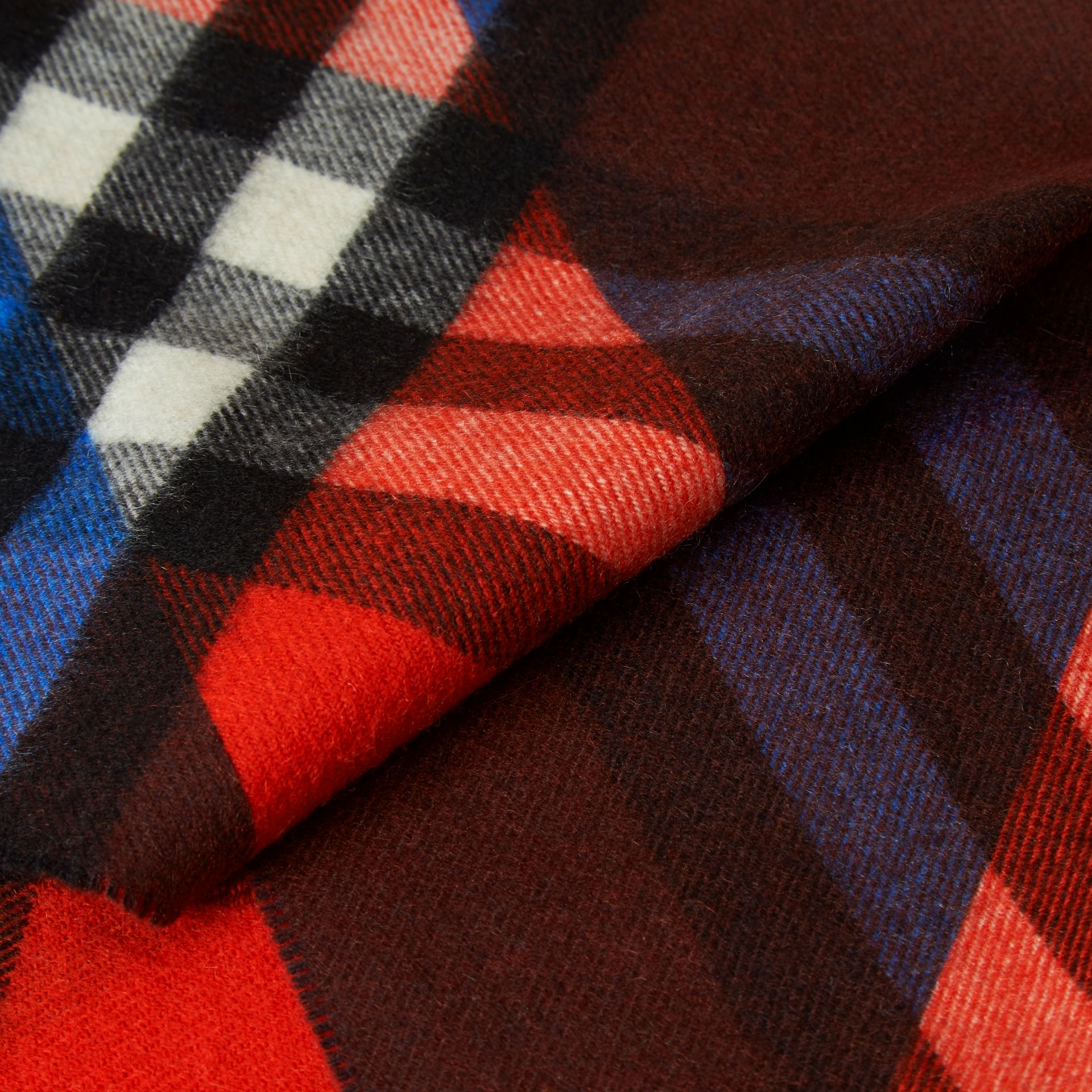 Check Cashmere Scarf with Stripe Print - gallery image 2