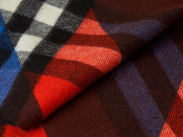 Check Cashmere Scarf with Stripe Print - cell image 1