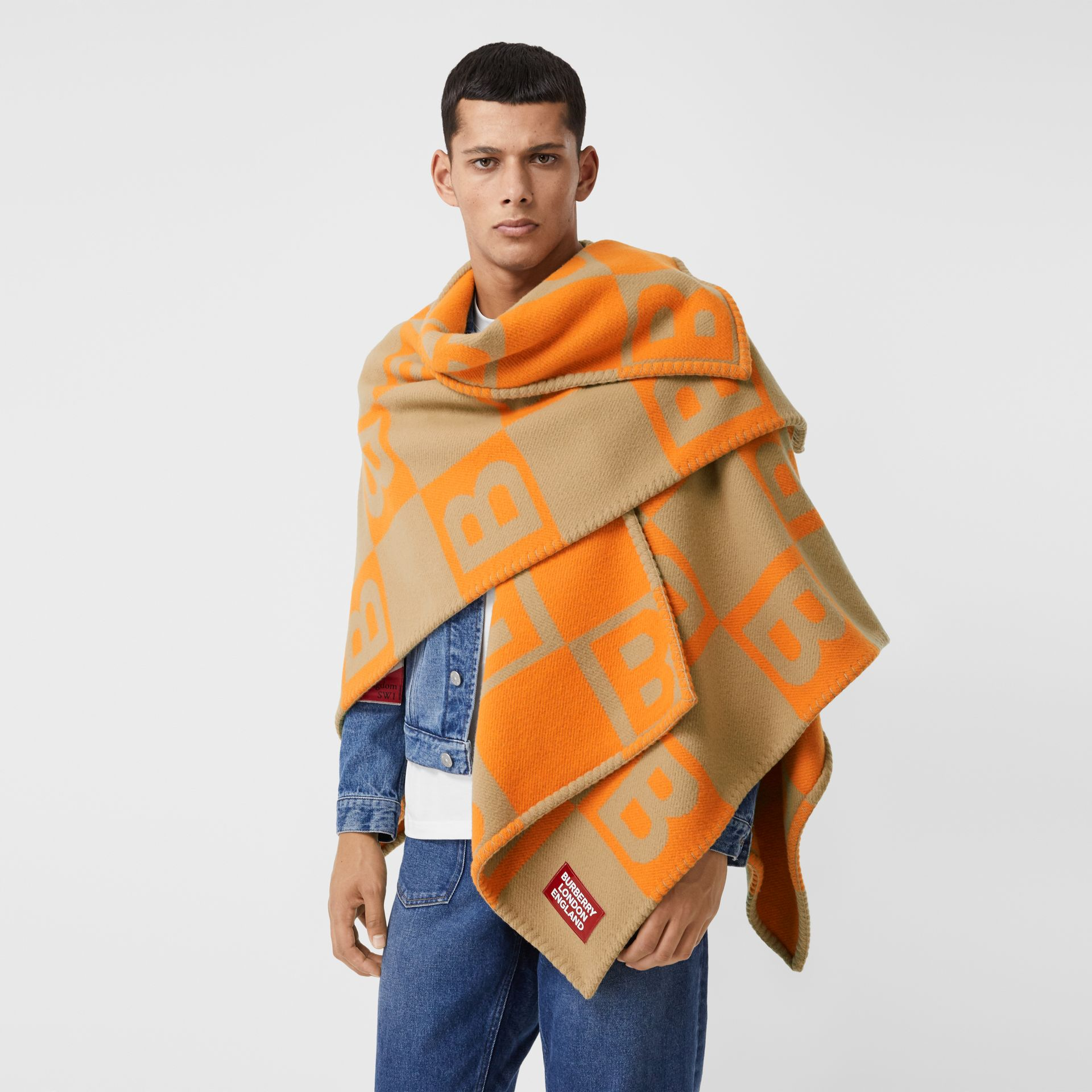 B Motif Merino Wool Cashmere Cape in Orange - Women | Burberry - gallery image 9