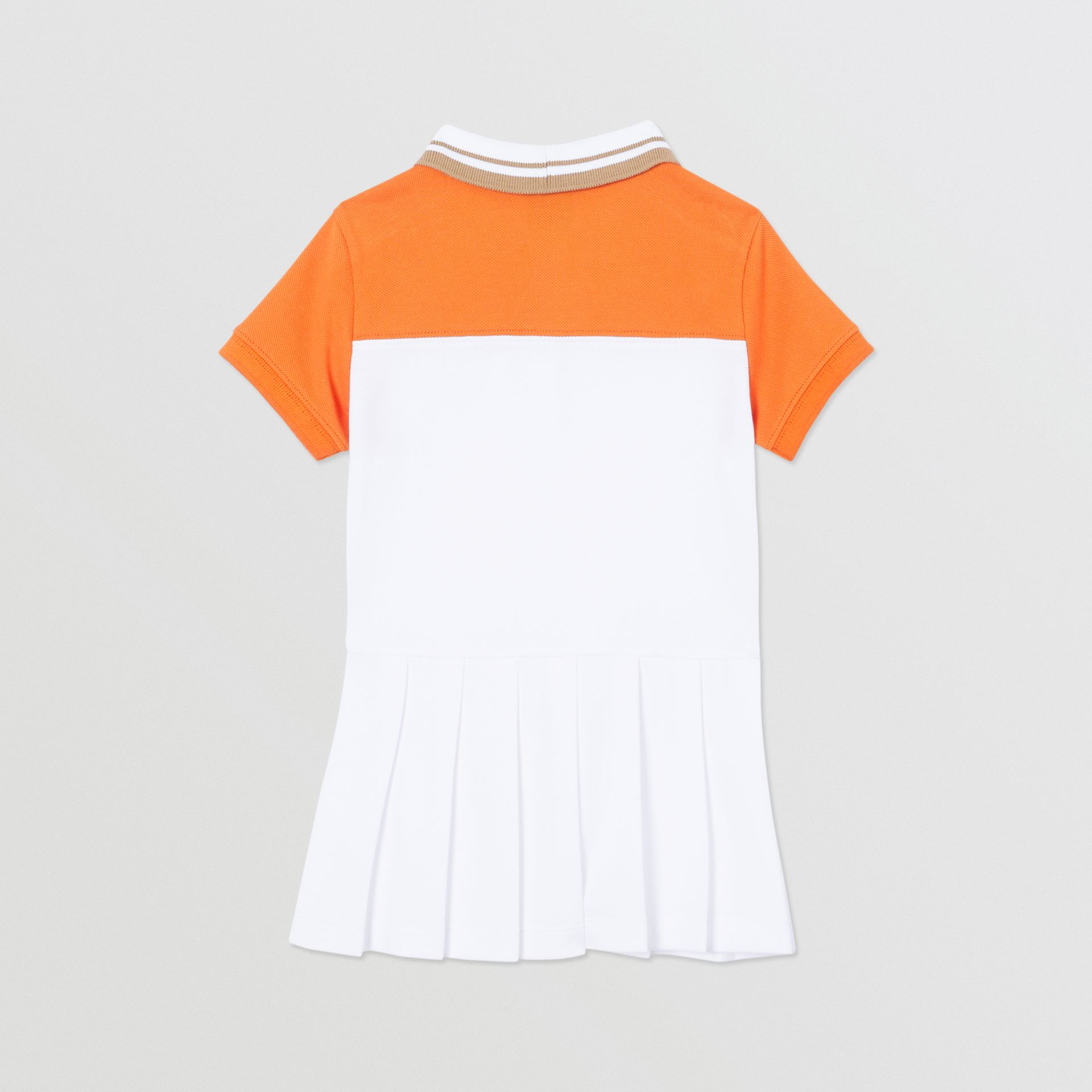 Colour Block Cotton Polo Shirt Dress in Bright Mandarin - Children | Burberry United Kingdom - gallery image 3