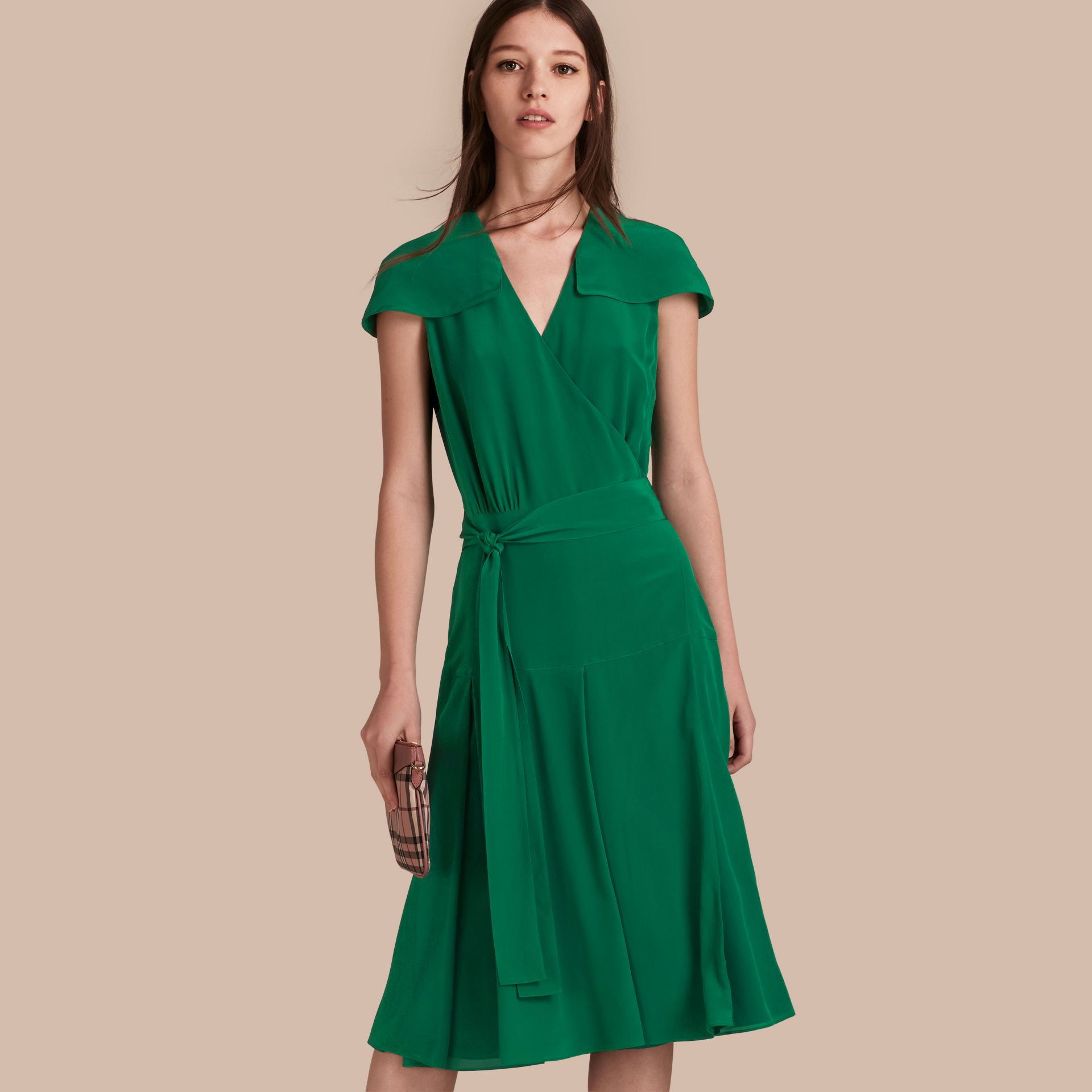 Kelly green Cape Detail Silk Wrap Dress Kelly Green - gallery image 1