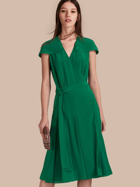 Cape Detail Silk Wrap Dress in Kelly Green
