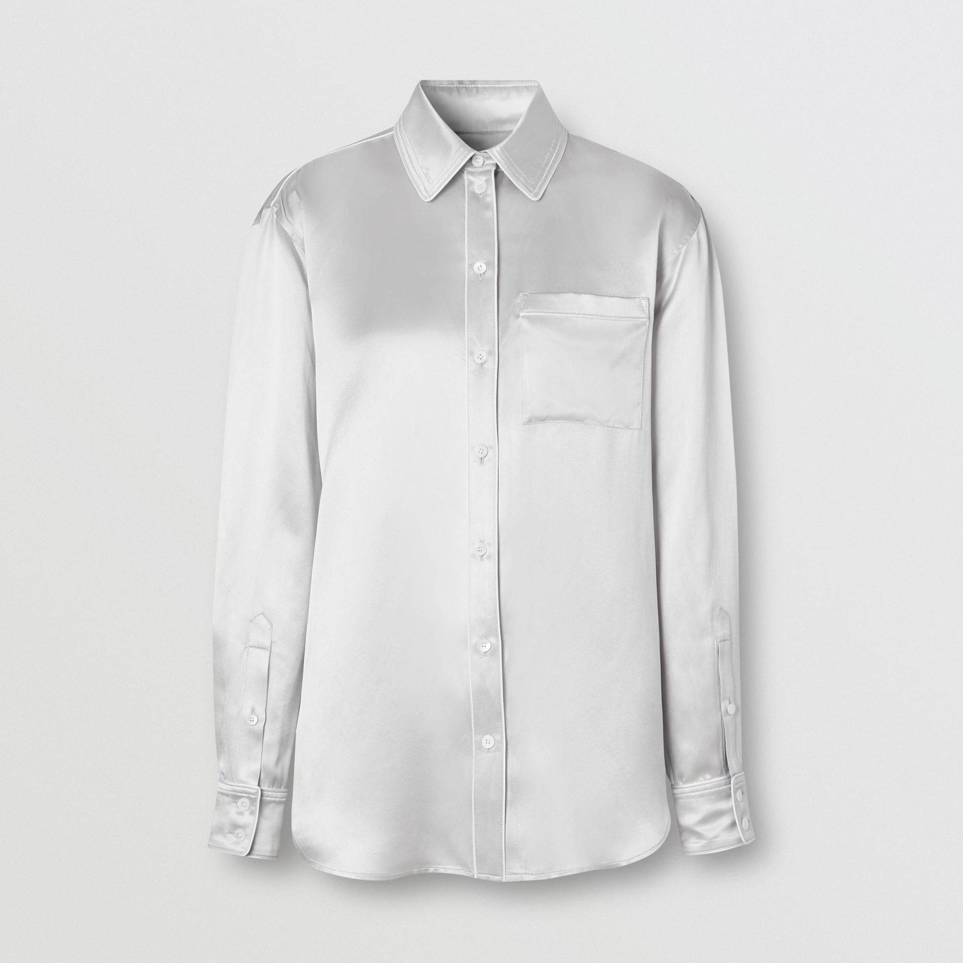 Silk Satin Shirt in Light Pebble Grey - Women | Burberry - gallery image 3
