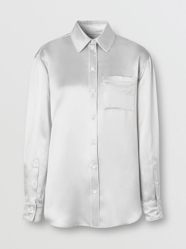 Silk Satin Shirt in Light Pebble Grey - Women | Burberry - cell image 3