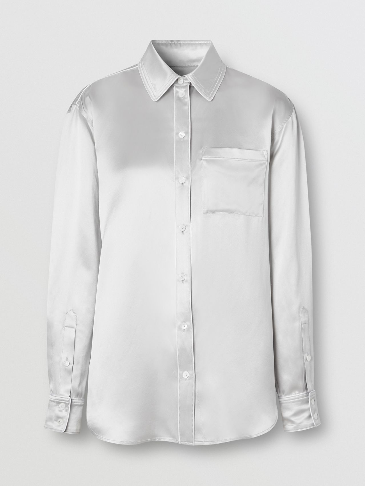 Silk Satin Shirt in Light Pebble Grey