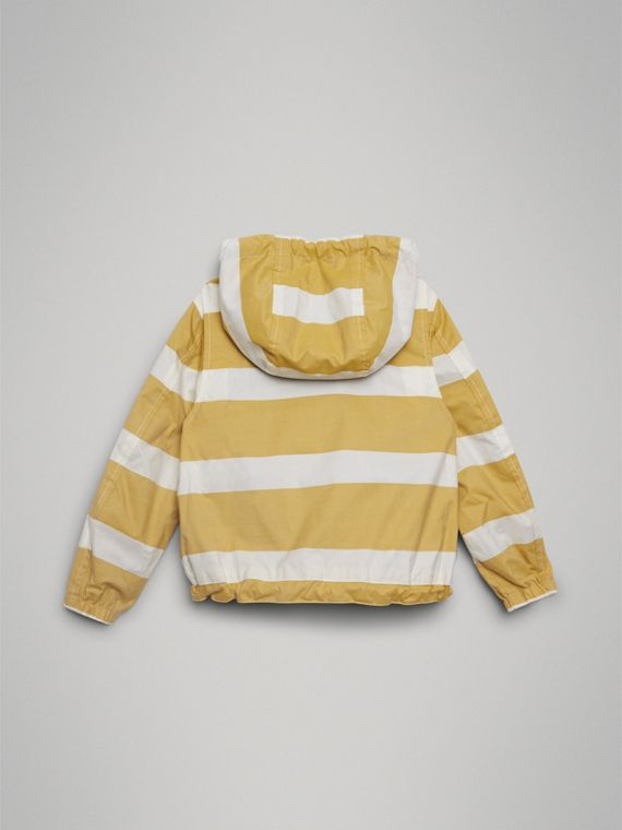 Reversible Stripe and Vintage Check Cotton Jacket in Larch Yellow/whte | Burberry Canada - cell image 3