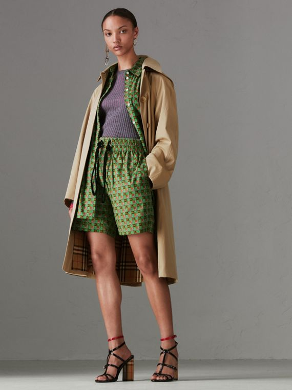 Detachable Hood Tropical Gabardine Car Coat in Honey