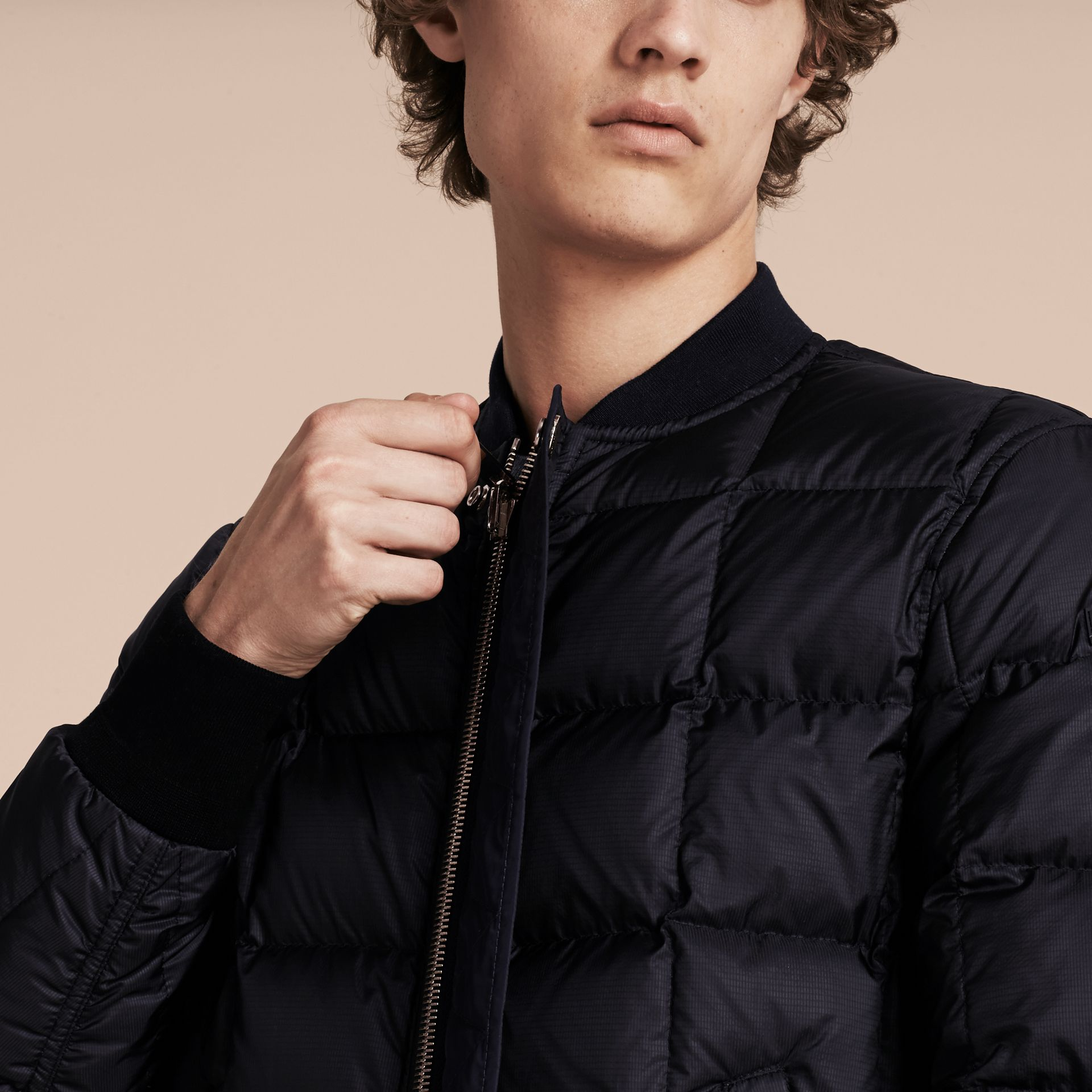 Navy Reversible Down-filled Bomber Jacket - gallery image 5