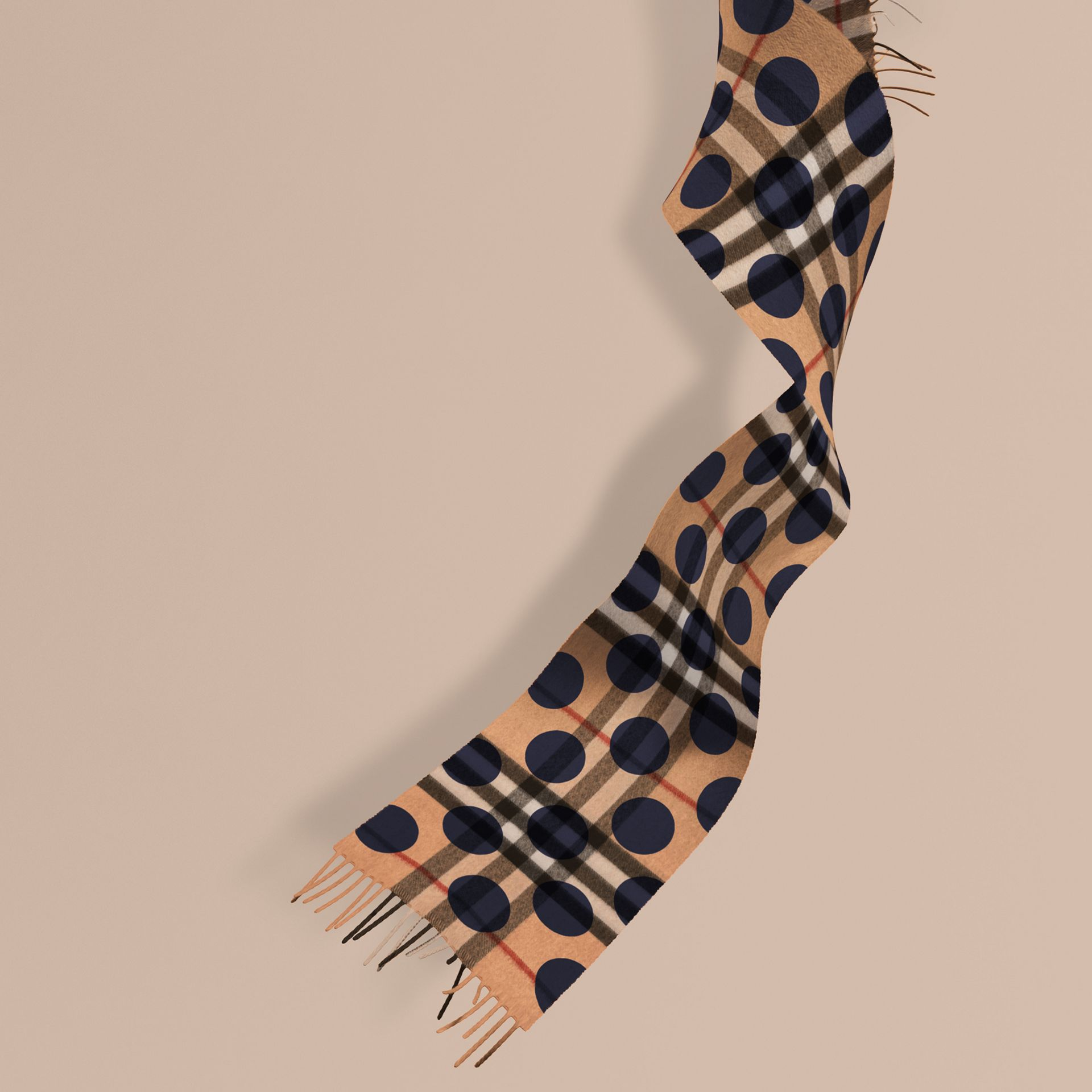 Indigo blue The Mini Classic Cashmere Scarf in Check and Dots - gallery image 1