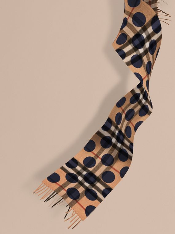 The Mini Classic Cashmere Scarf in Check and Dots in Indigo Blue