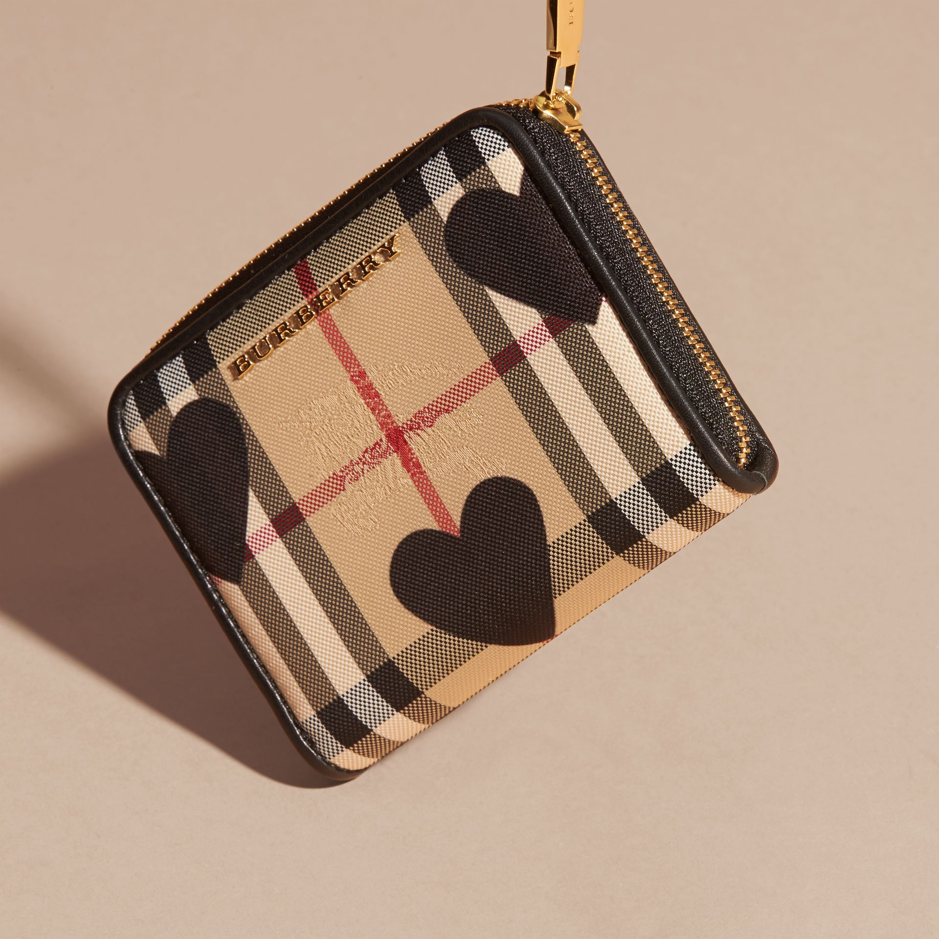 Heart Print Horseferry Check Ziparound Wallet - gallery image 3