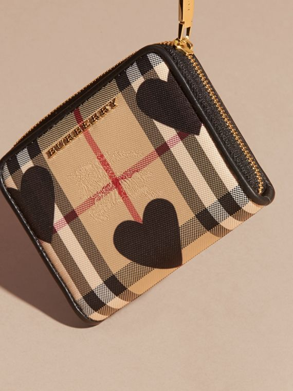 Black Heart Print Horseferry Check Ziparound Wallet - cell image 2
