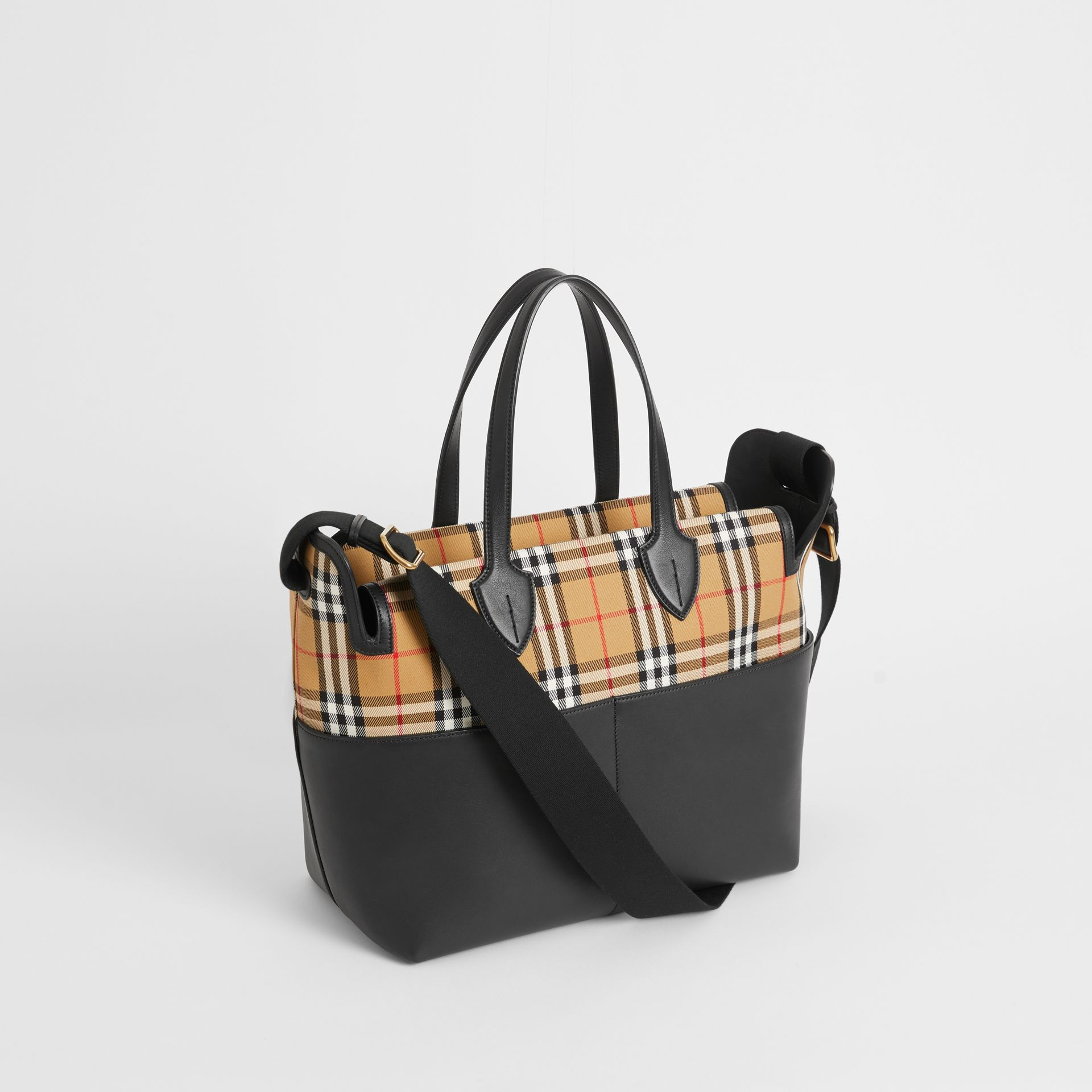 Vintage Check and Leather Baby Changing Tote in Black - Children | Burberry - gallery image 2