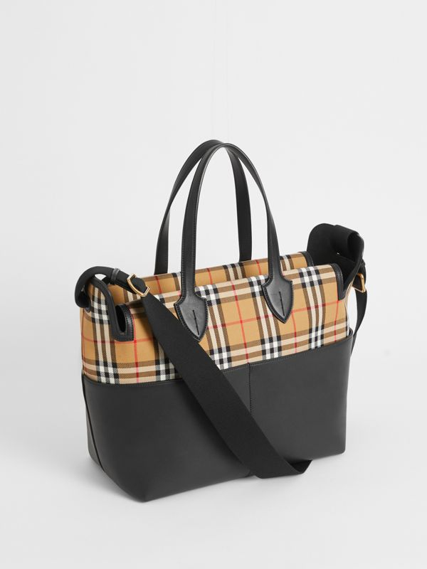 Vintage Check and Leather Baby Changing Tote in Black - Children | Burberry Singapore - cell image 2