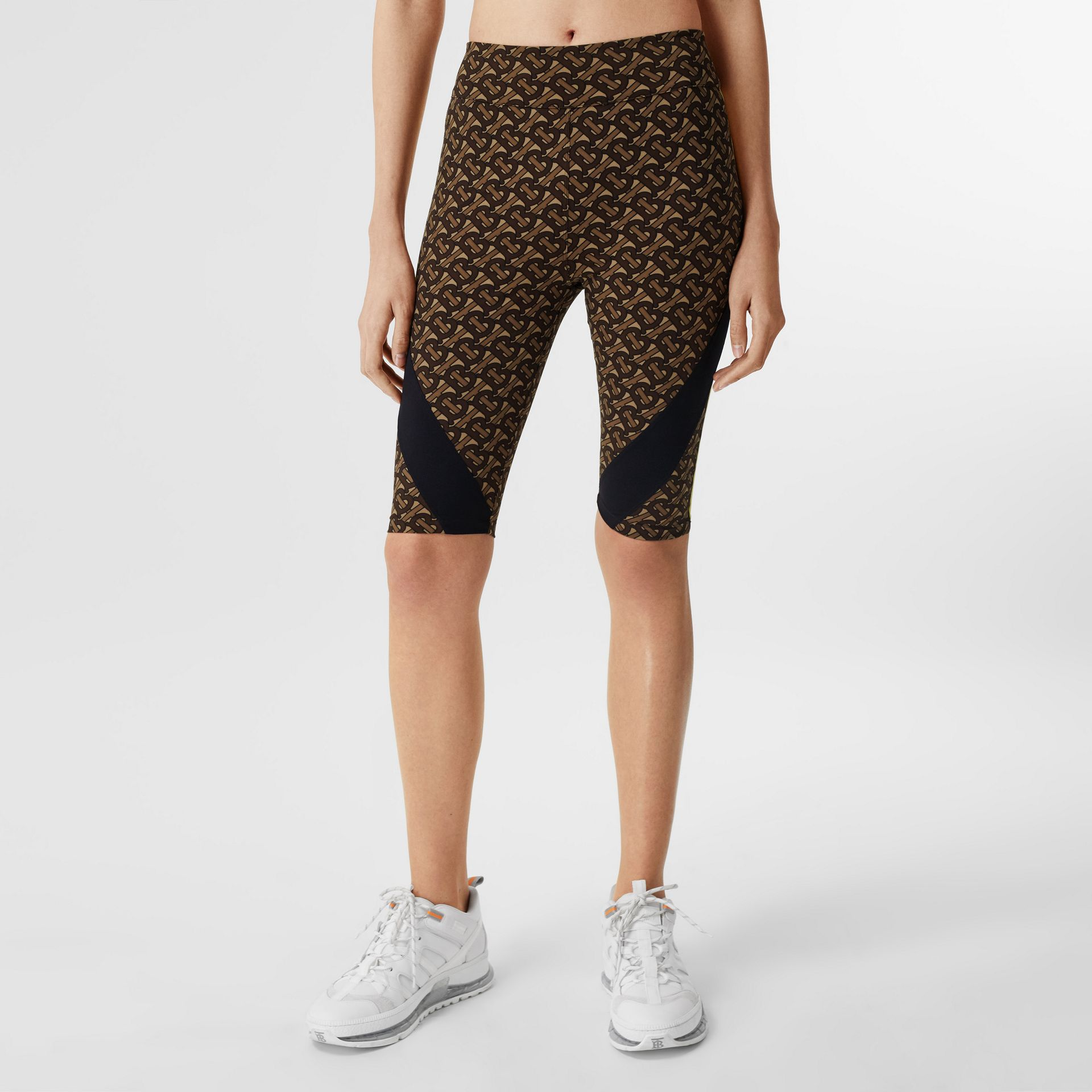 Colour Block Monogram Print Cycling Shorts in Bridle Brown - Women   Burberry United Kingdom - gallery image 4