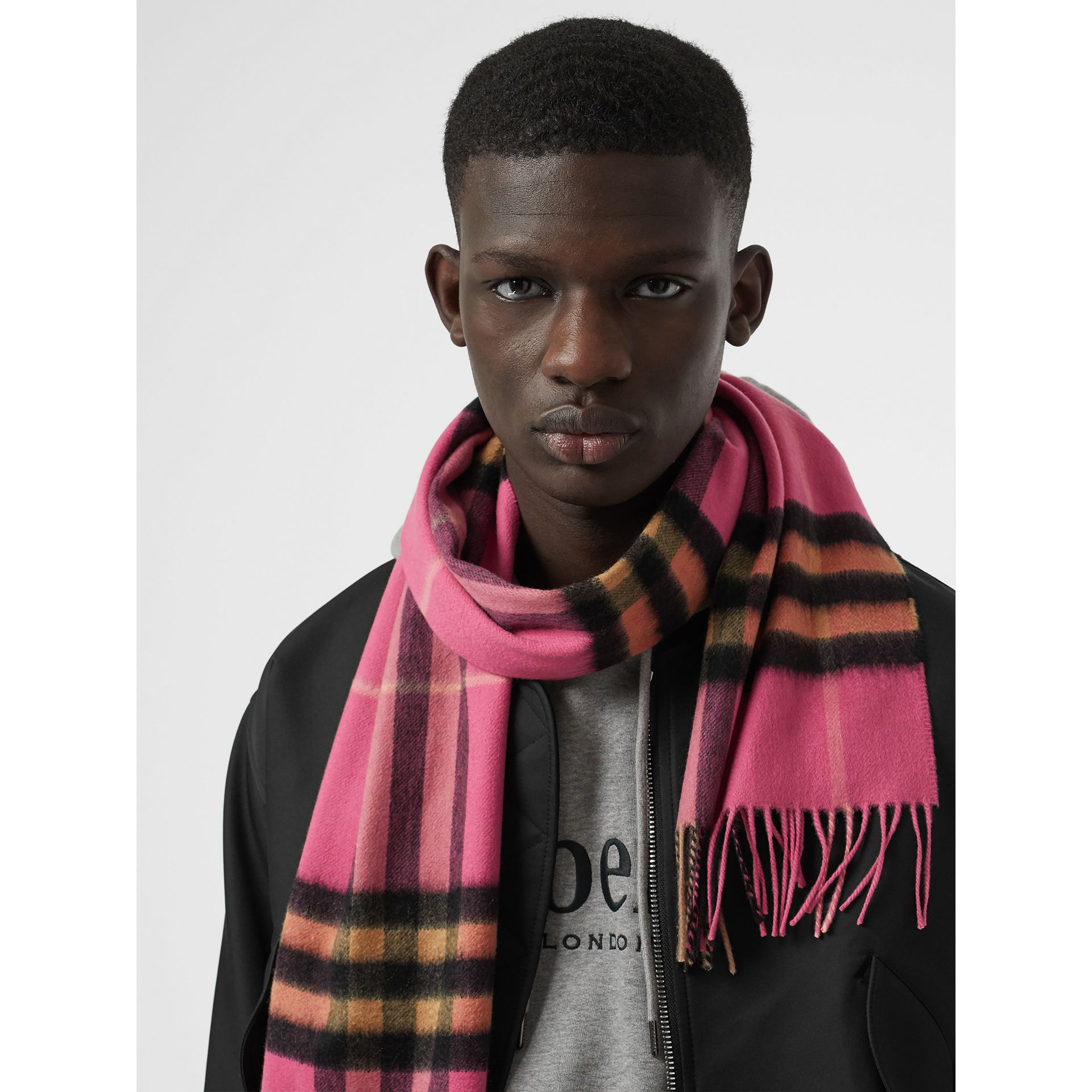 The Classic Check Cashmere Scarf in Bright Rose | Burberry United States - gallery image 6