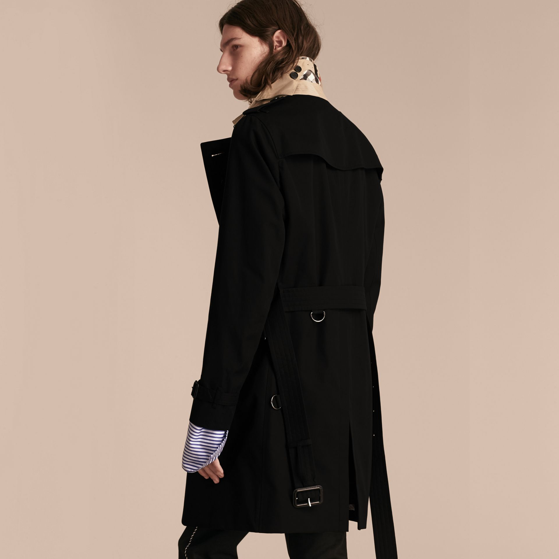 Black Contrast-collar Cotton Gabardine Trench Coat - gallery image 3