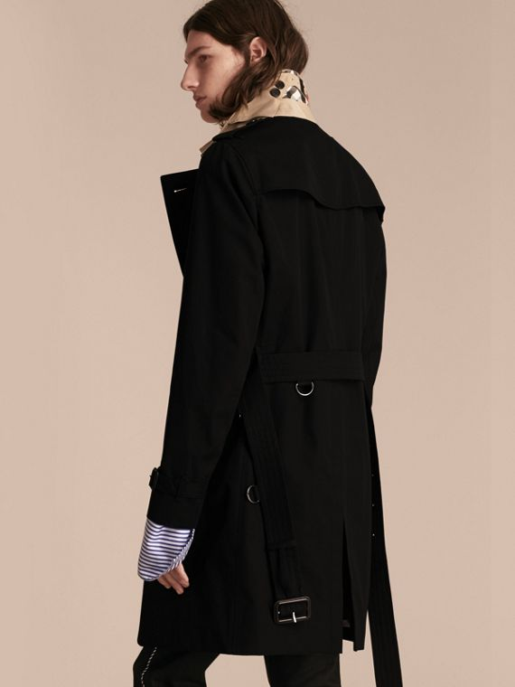 Black Contrast-collar Cotton Gabardine Trench Coat - cell image 2