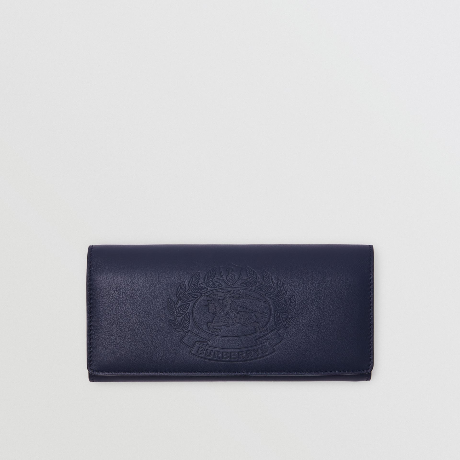 Embossed Crest Two-tone Leather Continental Wallet in Regency Blue - Women | Burberry - gallery image 0