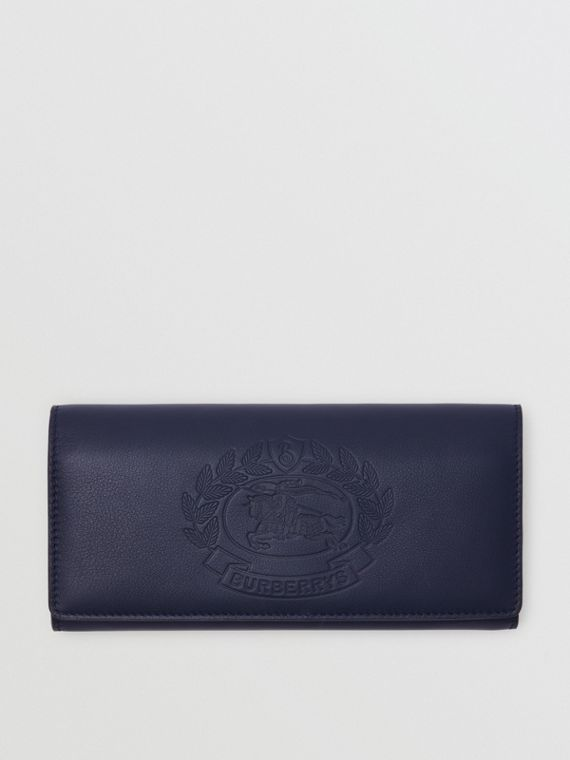 Embossed Crest Two-tone Leather Continental Wallet in Regency Blue