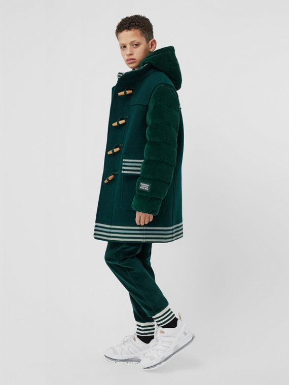Velvet Puffer Detail Wool Duffle Coat in Dark Pine Green