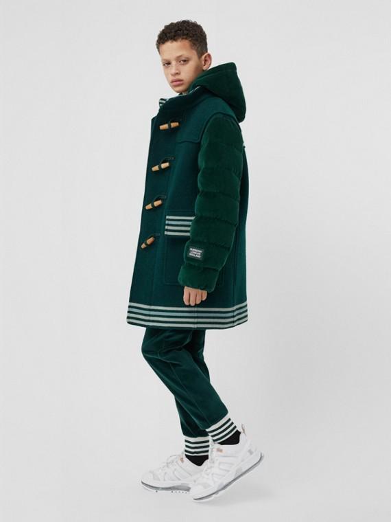 Duffle coat de lã com detalhe de veludo (Verde Pinheiro Escuro)