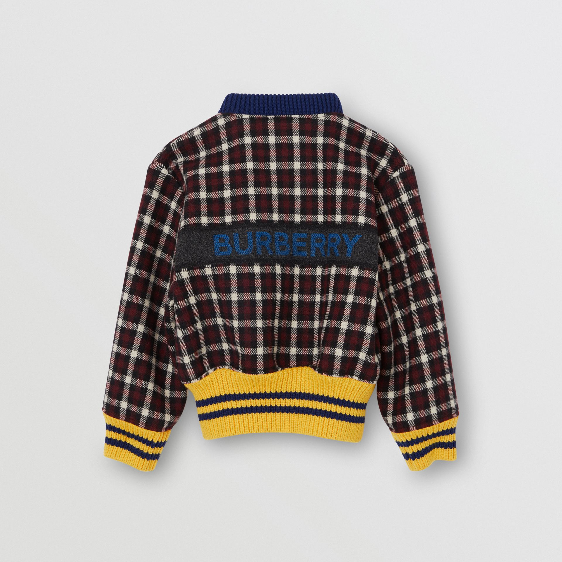 Logo Detail Check Wool Bomber Jacket in Claret | Burberry United Kingdom - gallery image 3