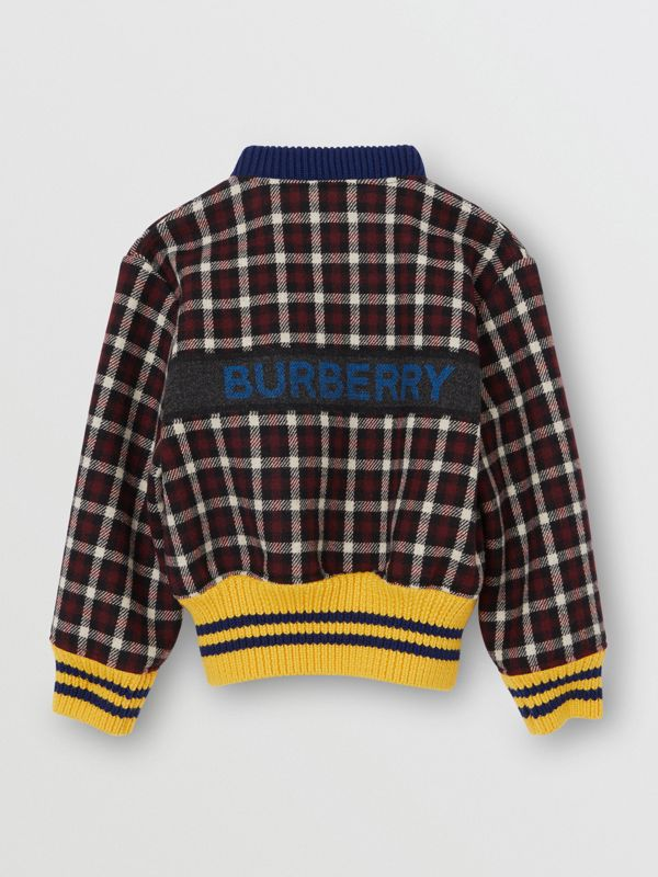 Logo Detail Check Wool Bomber Jacket in Claret | Burberry United Kingdom - cell image 3
