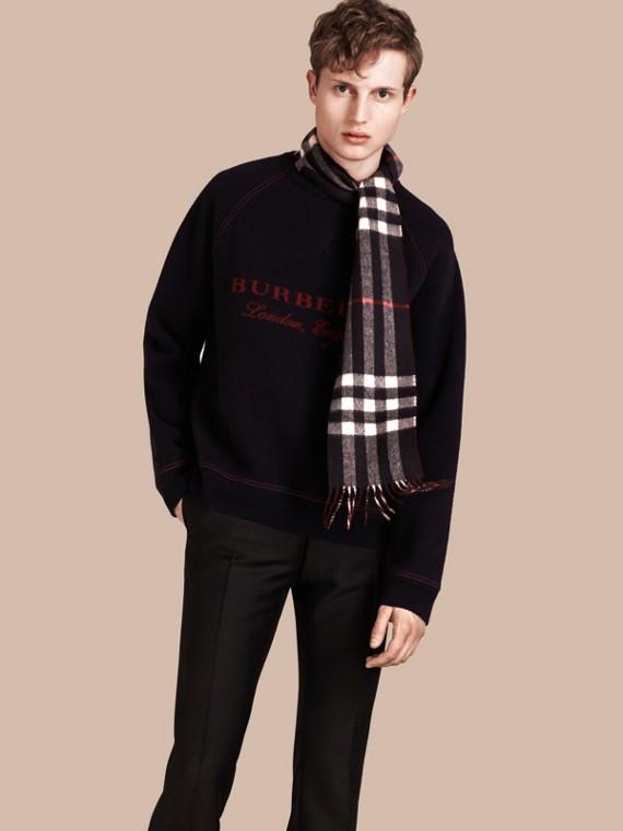 Felpa strutturata in misto lana Navy/rosso Intenso
