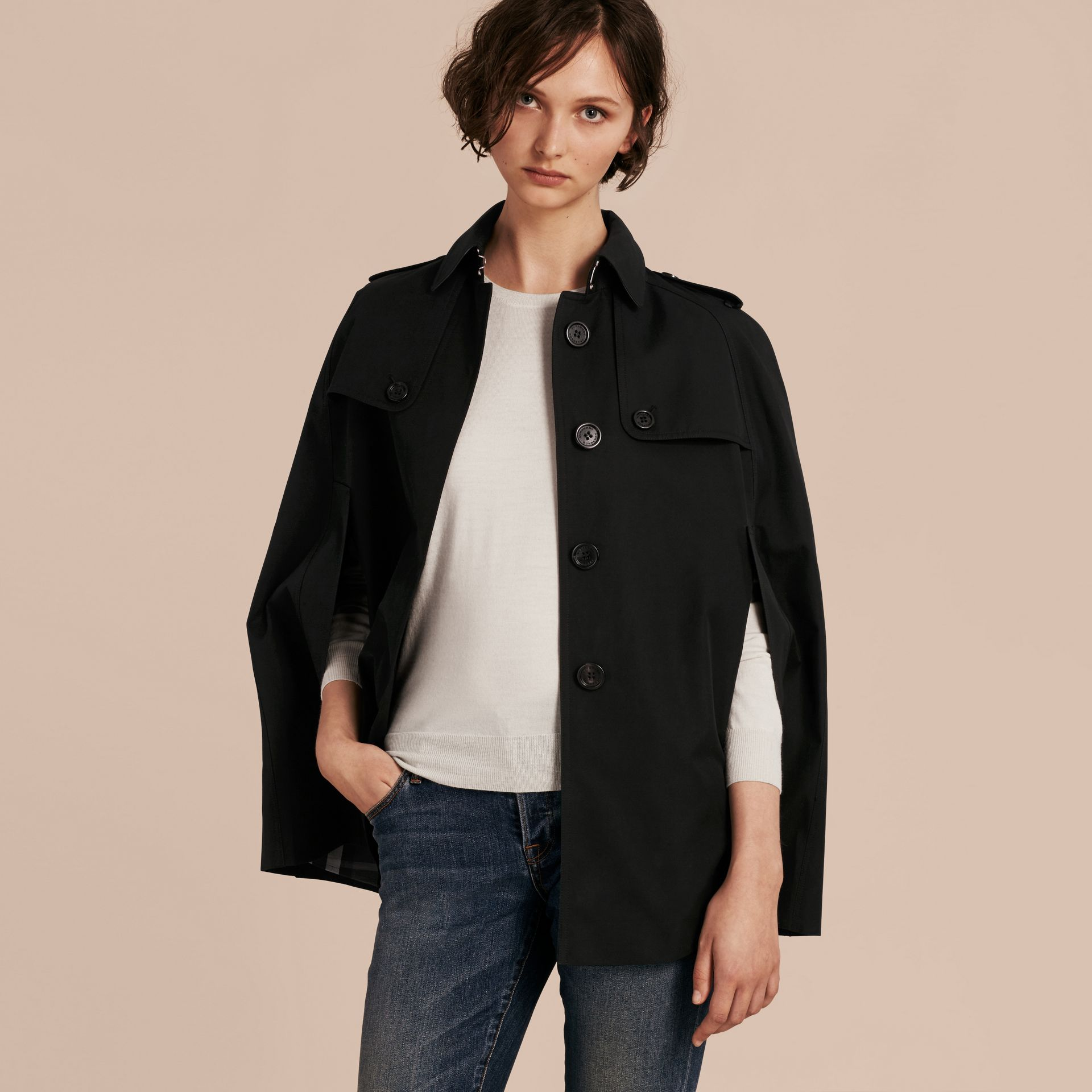 Black Cotton Gabardine Trench Cape Black - gallery image 7