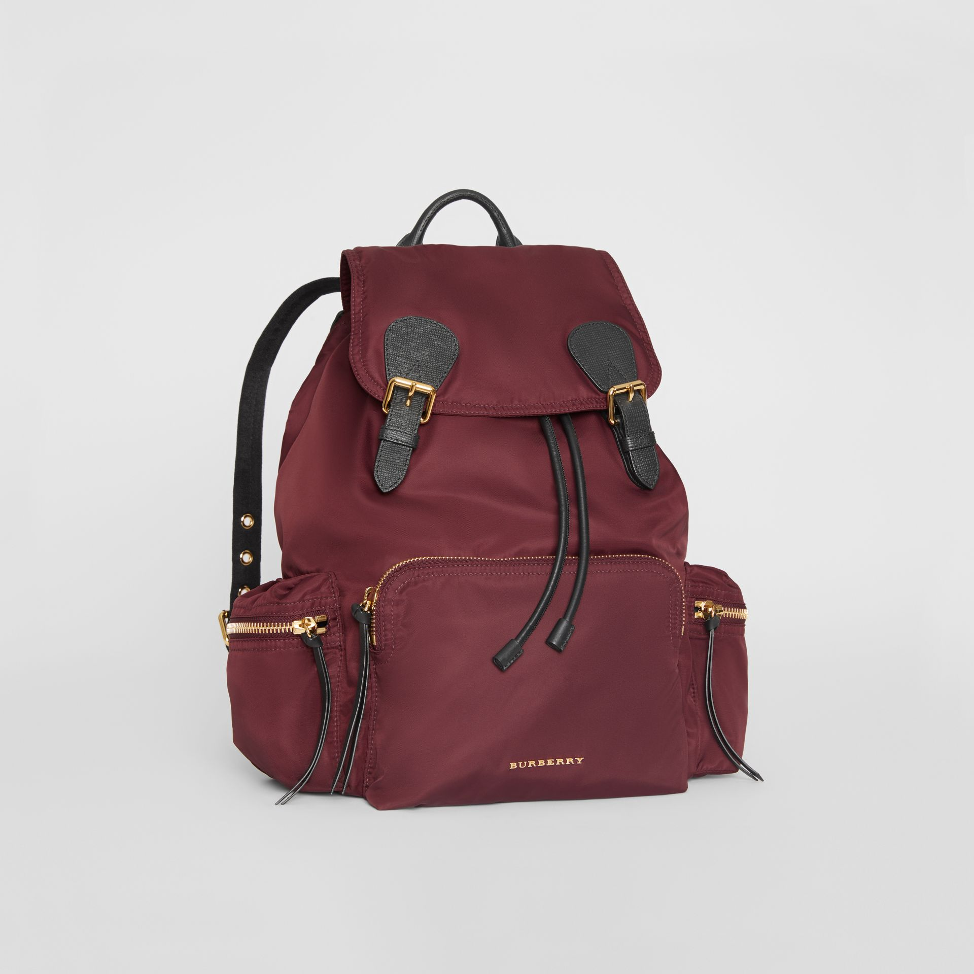 9456d366fd17 The Large Rucksack in Technical Nylon and Leather in Burgundy Red - Women