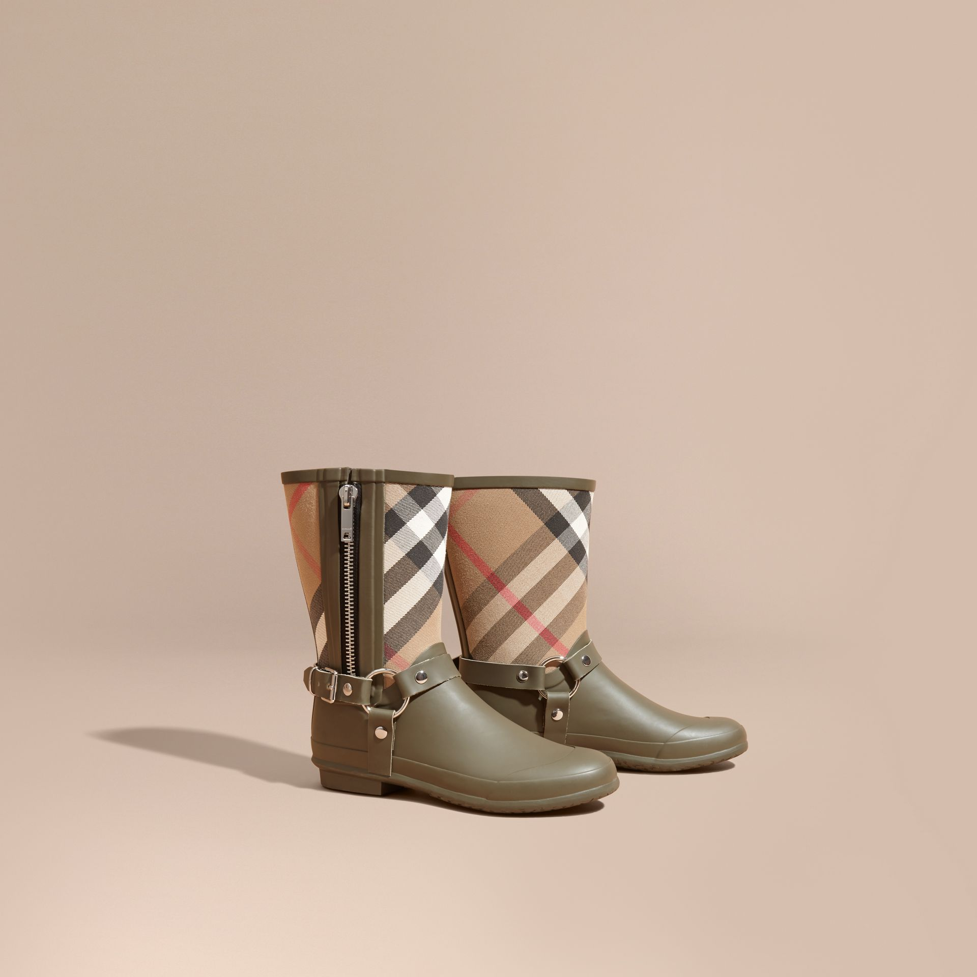House check/military green Buckle and Strap Detail Check Rain Boots House Check/military Green - gallery image 1