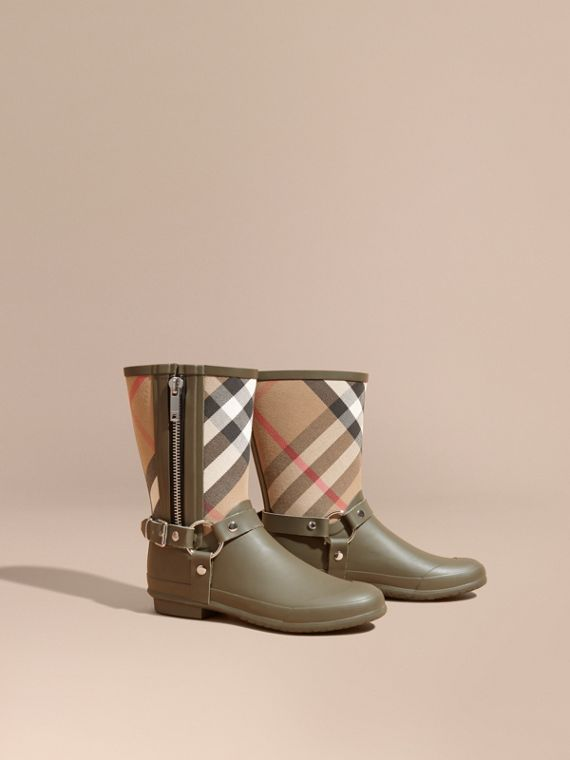 Buckle and Strap Detail Check Rain Boots House Check/military Green