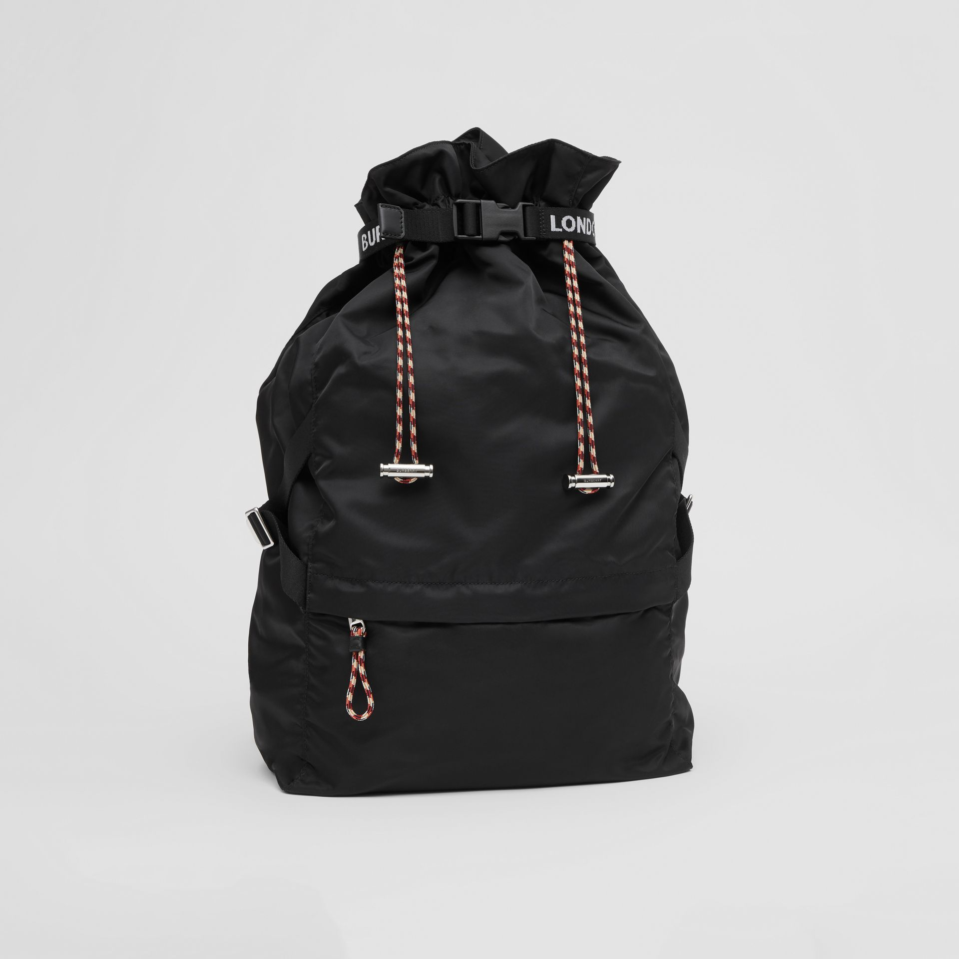 Logo Detail Nylon Drawcord Backpack in Black - Men | Burberry - gallery image 6